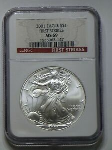 2001 NGC AMERICAN SILVER EAGLE $1 MS69 FIRST STRIKE MINT STATE DOLLAR