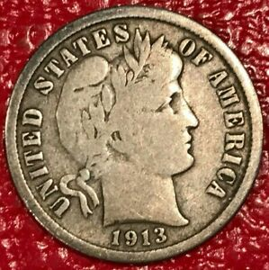 VINTAGE FINE CONDITION 1913 S BARBER SILVER DIME OLD US COIN JAN507