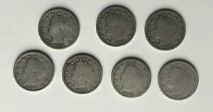 7  V LIBERTY NICKEL 5 CENT 1906 1907 1909 1910  1911  1911 1912 D  DATE