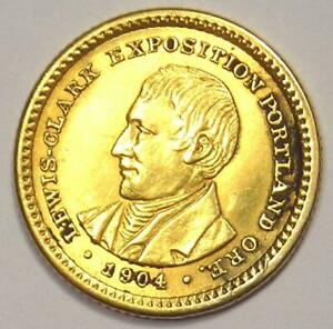 1904 LEWIS AND CLARK DOLLAR GOLD COIN  G$1    AU DETAILS  JEWELRY DAMAGE