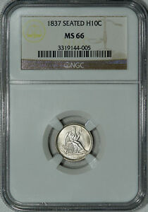 1837 NO STARS NGC MS66 SEATED HALF DIME THEY DON'T GET MUCH BETTER THAN THIS