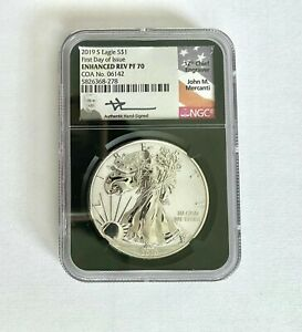 Click now to see the BUY IT NOW Price! 2019S SILVER EAGLE ENHANCED REVERSE PROOF FDOI MERCANTI SIGNED PR70 NGC COA06142