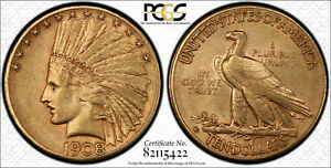 1908 D INDIAN HEAD GOLD $10 EAGLE WITH MOTTO PCGS AU50