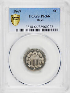 Click now to see the BUY IT NOW Price! 1867 SHIELD 5C PCGS PR 66