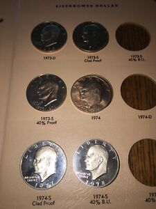 1973 S TO 1978 S PROOF EISENHOWER DOLLAR COLLECTION 6 COIN CLAD SET