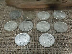 1/2 ROLL  10  US SILVER DOLLAR PEACE DOLLARS 1922 1925 MIXED MINT SHIPS FREE