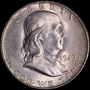 BU TONED 1949 D FRANKLIN HALF DOLLAR R1TEP