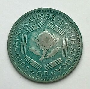 DATED : 1953   SILVER COIN   SOUTH AFRICA   SIXPENCE   6D   QUEEN ELIZABETH II