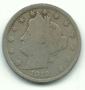 VERY GOOD VG CONDITION 1912 P LIBERTY HEAD V NICKEL COIN OLD US COIN MAY420