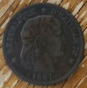 1881 HAITI CENTIMES   COPPER COIN IN REALLY NICE SHAPE
