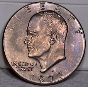 $1 1977 D EISENHOWER   E121  BEAUTIFUL HIGH GRADE TONED