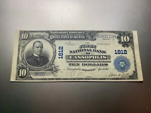 CASSOPOLIS MICHIGAN 1902 NATIONAL NOTE. CHARTER 1812.