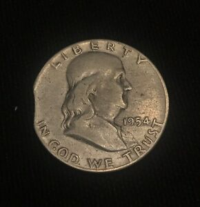 1954 FRANKLIN HALF DOLLAR  MINT ERROR COIN CLIPPED PLANCHET SILVER 50