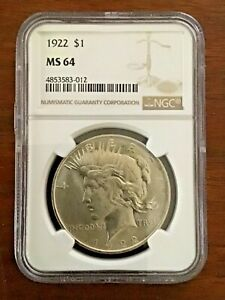 1922 US PEACE SILVER DOLLAR $1   NGC MS64