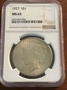 1927 PEACE SILVER DOLLAR MS63 PCGS