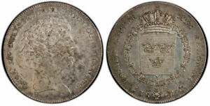 Click now to see the BUY IT NOW Price! SWEDEN CARL XIV JOHAN 1827 CB AR RIKSDALER PCGS MS61 STOCKHOLM KM 593; DAV. 349.
