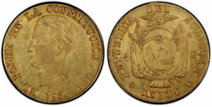 Click now to see the BUY IT NOW Price! ECUADOR. 1856 GJ AV 8 ESCUDOS. PCGS AU53. QUITO MINT FR 8; ONZA 1776.