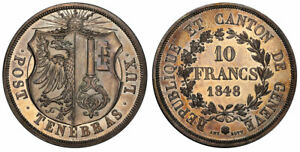 Click now to see the BUY IT NOW Price! SWISS CANTONS. GENEVA. 1848 AR 10 FRANCS. PCGS MS63 KM 138; DAV. 374.