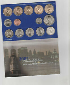 Mint Set  P and D 28 coins Sacagawea dollar Kennedy State Quarters COA 2007 U.S