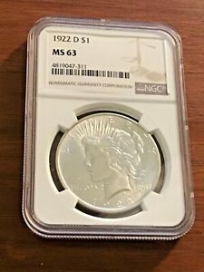 1922 D PEACE DOLLAR MS63 NGC