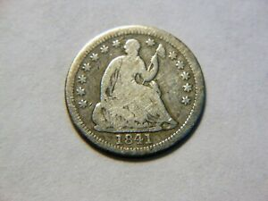 1841 P VG/VG  SILVER SEATED LIBERTY HALF DIME  NICE VINTAGE COIN TO COLLECT