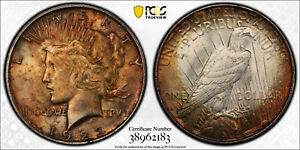 1923 D PEACE DOLLAR MS 62 PCGS TONED TARGET REVERSE MOUNTED