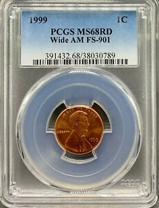 Click now to see the BUY IT NOW Price! 1999 LINCOLN 1C WIDE AM FS 901 PCGS MS 68 RD