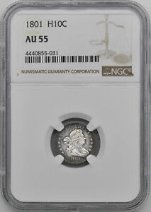 Click now to see the BUY IT NOW Price! 1801 DRAPED BUST H10C NGC AU 55