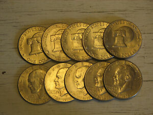 LOT OF 10 BICENTENNIAL 1776 1976 EISENHOWER DOLLAR COINS MINTED IN P OR D