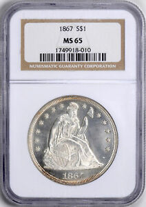 Click now to see the BUY IT NOW Price! 1867 LIBERTY SEATED S$1 NGC MS 65