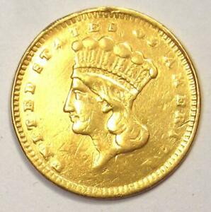 1877 INDIAN DOLLAR GOLD COIN  G$1    XF DETAILS  EF     DATE COIN