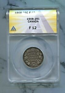 CANADA   BEAUTIFUL EDWARD VII SILVER 25 CENTS 1908  GREAT DATE  ANACS GRADED