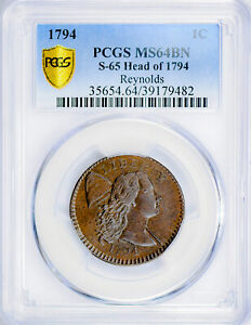 Click now to see the BUY IT NOW Price! 1794 FLOWING HAIR LARGE 1C PCGS MS 64 BN