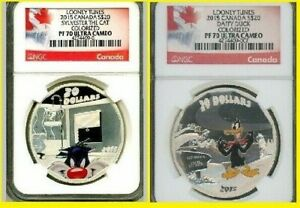 Click now to see the BUY IT NOW Price! 2015 CANADA 4 OZ. COLORIZED SILVER LOONEY TUNES 4 COIN COMPLETE SET NGC PF 70 UC