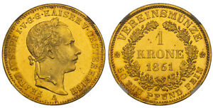 Click now to see the BUY IT NOW Price! AUSTRIA. FRANZ JOSEPH I 1861 A AV KRONE. NGC MS64PL VIENNA J. 423 EXCEPTIONAL