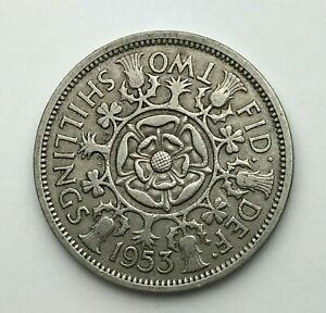 DATED : 1953   ONE FLORIN   2 SHILLING COIN   QUEEN ELIZABETH II   GREAT BRITAIN