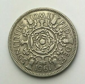 DATED : 1961   ONE FLORIN   2 SHILLING COIN   QUEEN ELIZABETH II   GREAT BRITAIN