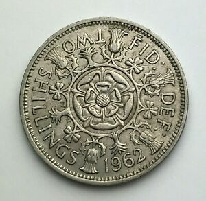 DATED : 1962   ONE FLORIN   2 SHILLING COIN   QUEEN ELIZABETH II   GREAT BRITAIN