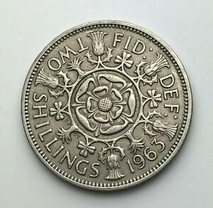 DATED : 1963   ONE FLORIN   2 SHILLING COIN   QUEEN ELIZABETH II   GREAT BRITAIN