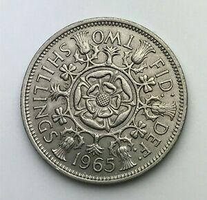 DATED : 1965   ONE FLORIN   2 SHILLING COIN   QUEEN ELIZABETH II   GREAT BRITAIN