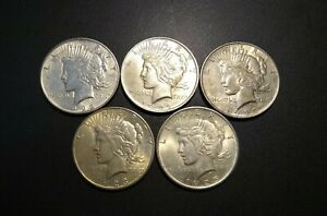 LOT OF 5 PEACE SILVER DOLLARS 90  SILVER 1922 1923 1925