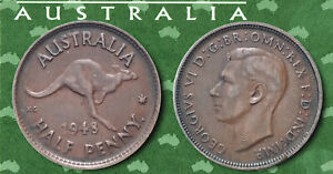 AUSTRALIA:  KING GEORGE VI BRONZE HALF PENNY COIN DATED 1948. AP7781