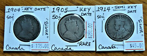 1904 1905 AND 1914 CANADA 50 CENTS SILVER KEY DATE LOW MINTAGE AND SEMI KEY .