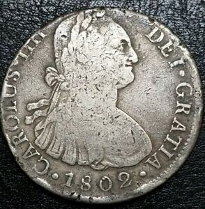 1802 IJ SPANISH PLATA SILVER 8 REALES PERU  SOUTH AMERICA LIMA MINT COIN$1