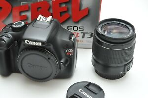 CANON EOS REBEL T3 DSLR CAMERA WITH EF S 18 55MM IS II LENS KIT WITH BOX