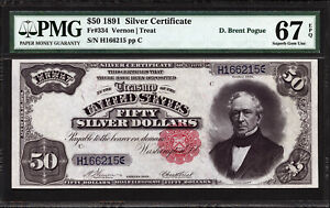 Click now to see the BUY IT NOW Price! $50 1891 SILVER CERTIFICATE FR 334 PMG 67 EPQ   FINEST KNOWN PERIOD