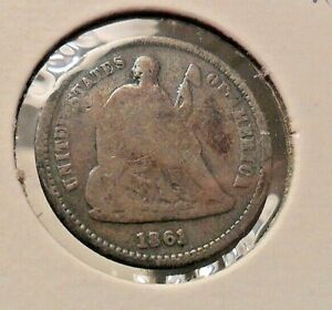 1861 LIBERTY SEATED HALF DIME  GOOD DETAILS  SLIGHTLY BENT.