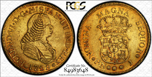 Click now to see the BUY IT NOW Price! G025  COLOMBIA. 1759 J 4 ESCUDOS GOLD. POPAYAN MINT.  PCGS AU50