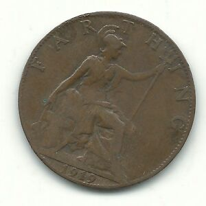 VERY NICE BETTER GRADE 1919 GREAT BRITAIN FARTHING COIN JUL676