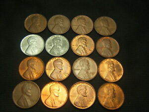 16 DIFFERENT LINCOLN WHEAT CENTS 1940 S 1952 S XF/AU W/1941 S 1942 S 1943 P & S